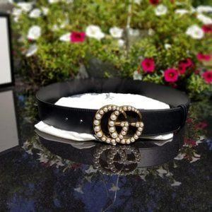 Classy Pearl  Black Leather Gucci Belt 90cm
